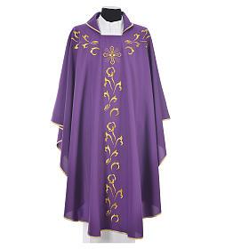 Casula litúrgica com bordado dourado e cruz s3