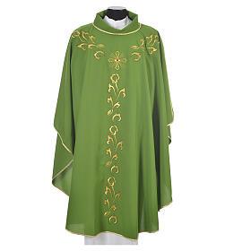Casula litúrgica com bordado dourado e cruz s6