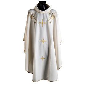 Chasuble liturgie, décor doré et croix s1
