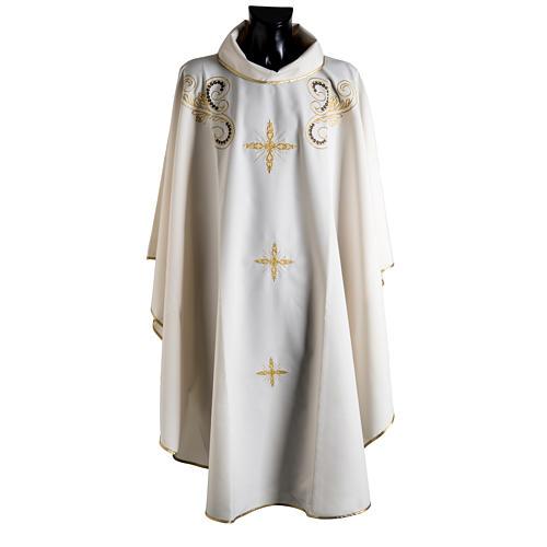 Chasuble liturgie, décor doré et croix 1
