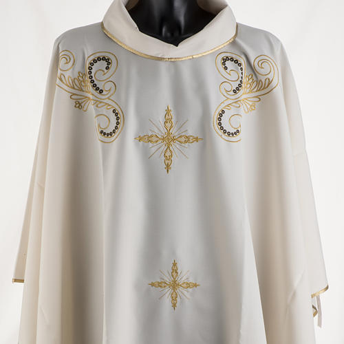 Chasuble liturgie, décor doré et croix 2
