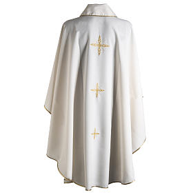 Casula liturgica ricamo dorato croce s9