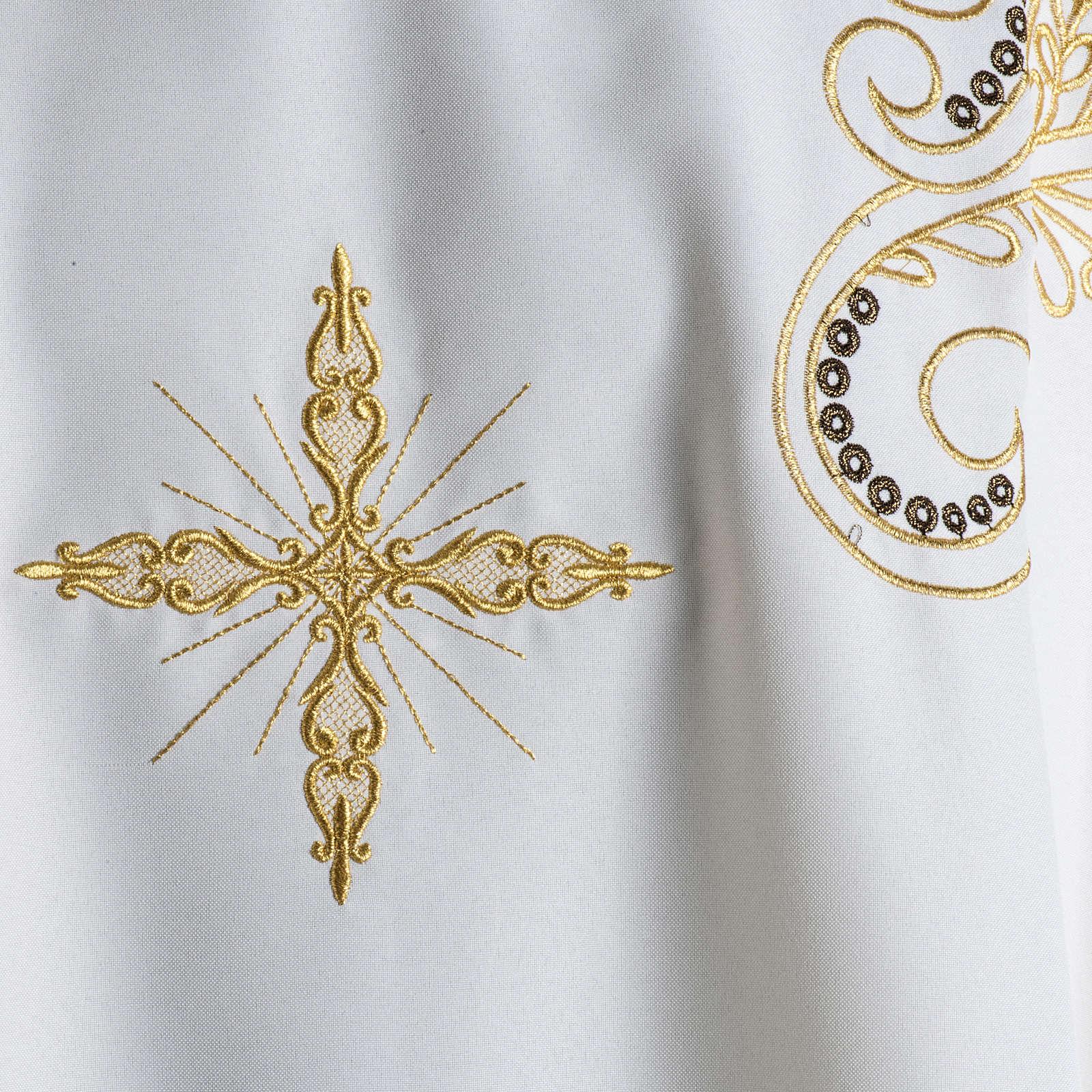 Casula litúrgica bordado dourado cruz 4