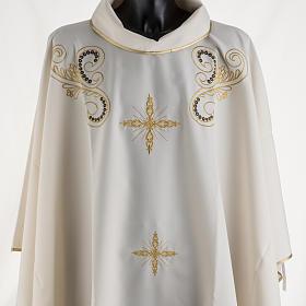 Casula litúrgica bordado dourado cruz s2
