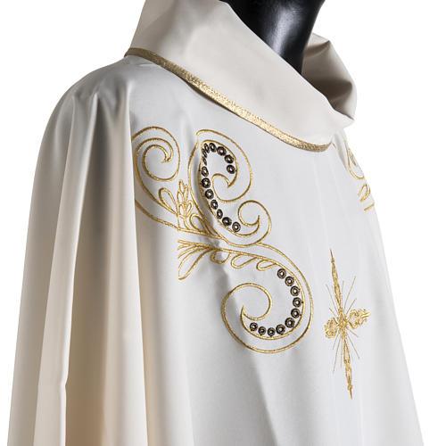 Casula litúrgica bordado dourado cruz 6