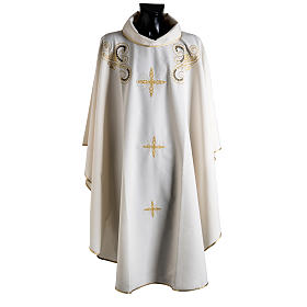 Chasuble with Roll Collar golden cross embroidery s1