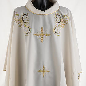 Chasuble with Roll Collar golden cross embroidery s2
