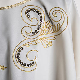 Chasuble with Roll Collar golden cross embroidery s5