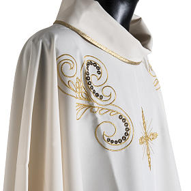 Chasuble with Roll Collar golden cross embroidery s6