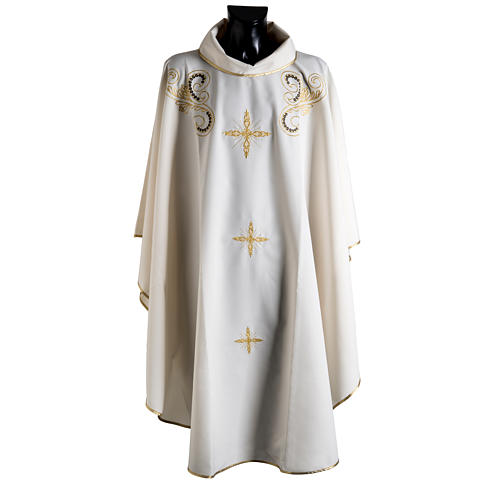 Chasuble with Roll Collar golden cross embroidery 1