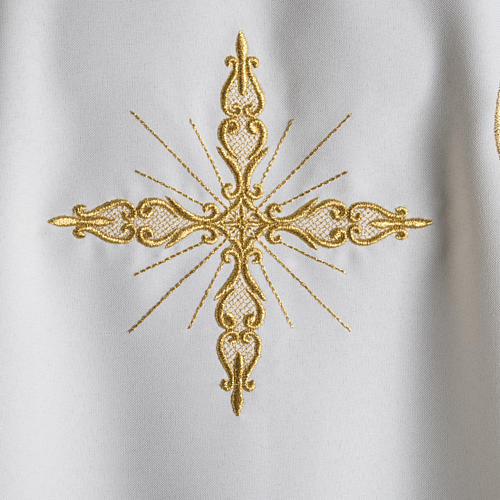 Chasuble with Roll Collar golden cross embroidery 4