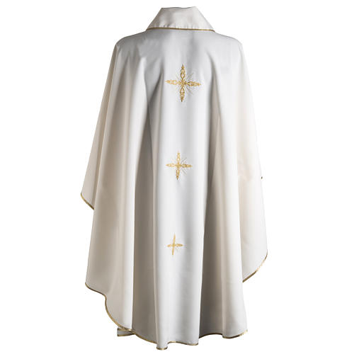 Chasuble with Roll Collar golden cross embroidery 9