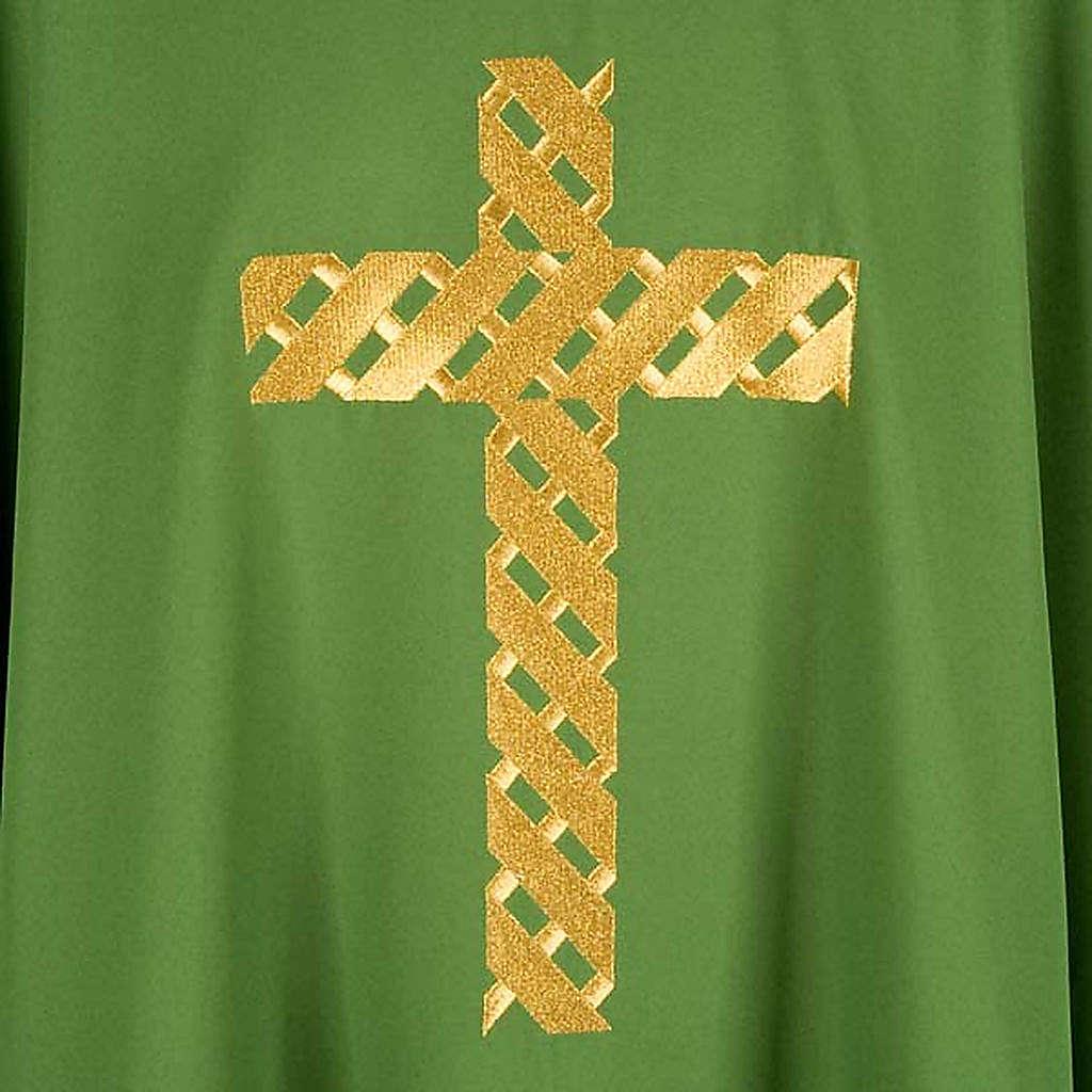 Casula litúrgica bordado cruz dourada 4