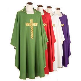 Casula litúrgica bordado cruz dourada s1