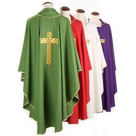 Casula litúrgica bordado cruz dourada s2