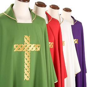 Casula litúrgica bordado cruz dourada s3