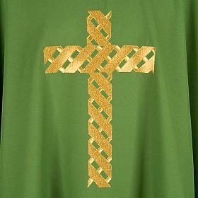 Casula litúrgica bordado cruz dourada s4
