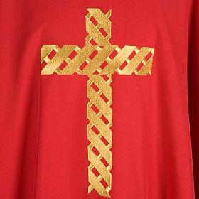 Casula litúrgica bordado cruz dourada s5