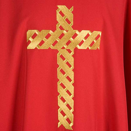 Casula litúrgica bordado cruz dourada 5