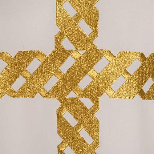 Casula litúrgica bordado cruz dourada 6