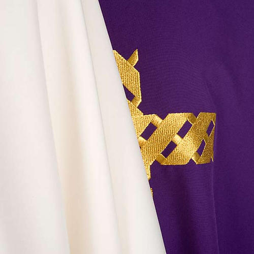 Casula litúrgica bordado cruz dourada 7