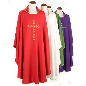 Casulla litúrgica con bordado cruz dorada s1