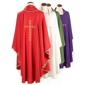 Casulla litúrgica con bordado cruz dorada s2