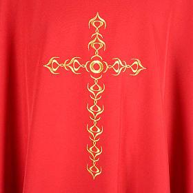Casula litúrgica com bordado cruz dourada s3