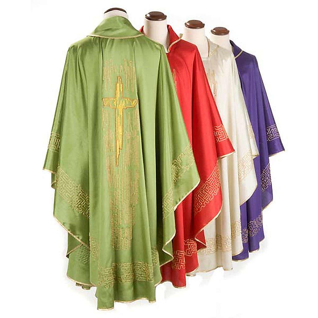 Casula liturgica shantung ricamo croce dorata stilizzata 4