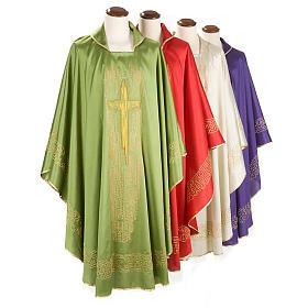 Casula liturgica shantung ricamo croce dorata stilizzata s1