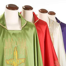 Casula liturgica shantung ricamo croce dorata stilizzata s3