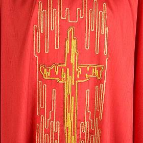 Casula liturgica shantung ricamo croce dorata stilizzata s7