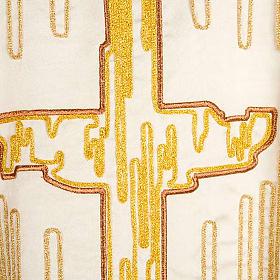 Casula liturgica shantung ricamo croce dorata stilizzata s9