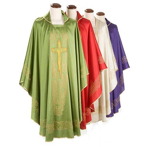 Casula liturgica shantung ricamo croce dorata stilizzata 1