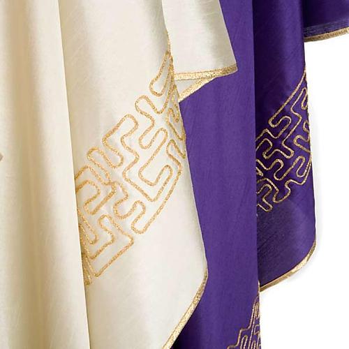 Casula liturgica shantung ricamo croce dorata stilizzata 6