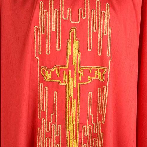 Casula liturgica shantung ricamo croce dorata stilizzata 7