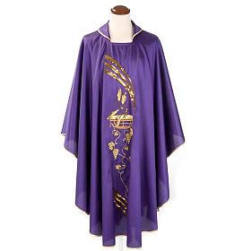 Casulla litúrgica shantung bordado dorado patena, espiga s1