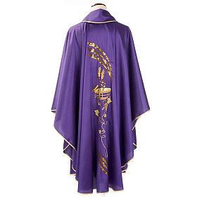 Casulla litúrgica shantung bordado dorado patena, espiga s2
