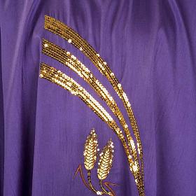 Casulla litúrgica shantung bordado dorado patena, espiga s3