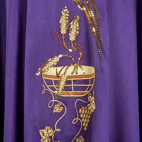 Casulla litúrgica shantung bordado dorado patena, espiga s4