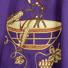 Casulla litúrgica shantung bordado dorado patena, espiga s5