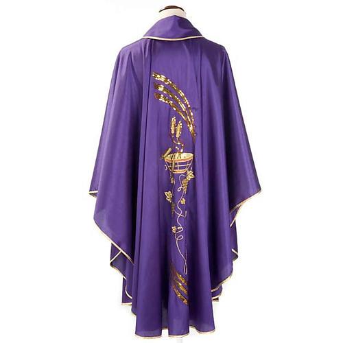 Casulla litúrgica shantung bordado dorado patena, espiga 2