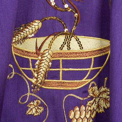 Casula shantung con ricamo dorato spighe, patena, uva 5