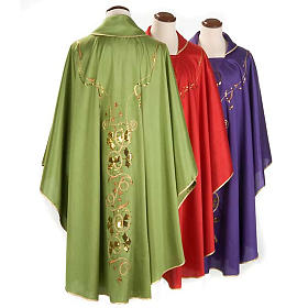 Chasuble Chi-Rho chalice shantung s2