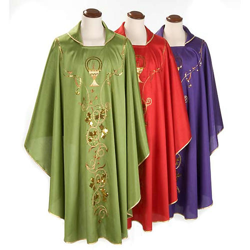 Chasuble Chi-Rho chalice shantung 1