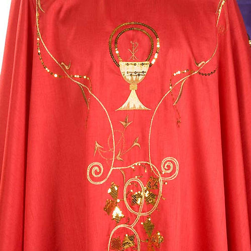 Chasuble Chi-Rho chalice shantung 3