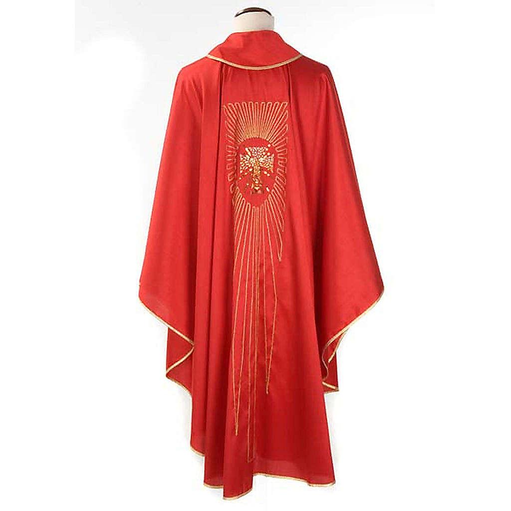 Casulla litúrgica shantung bordado dorado cruz 4