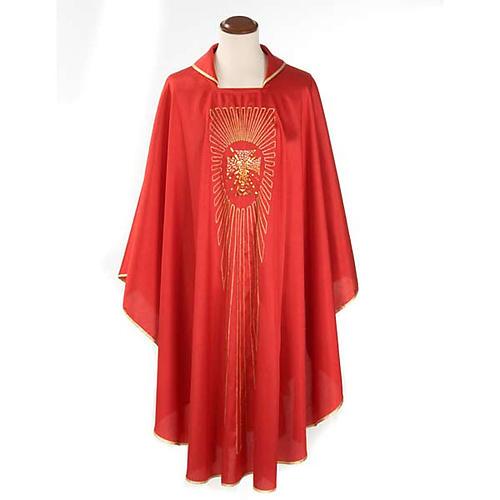 Casulla litúrgica shantung bordado dorado cruz 1