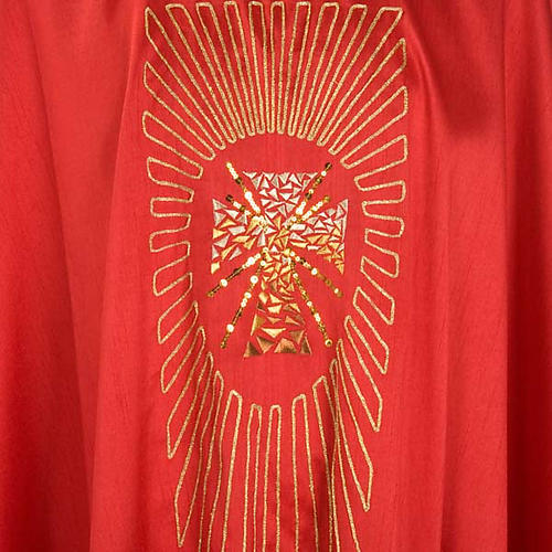 Casulla litúrgica shantung bordado dorado cruz 3