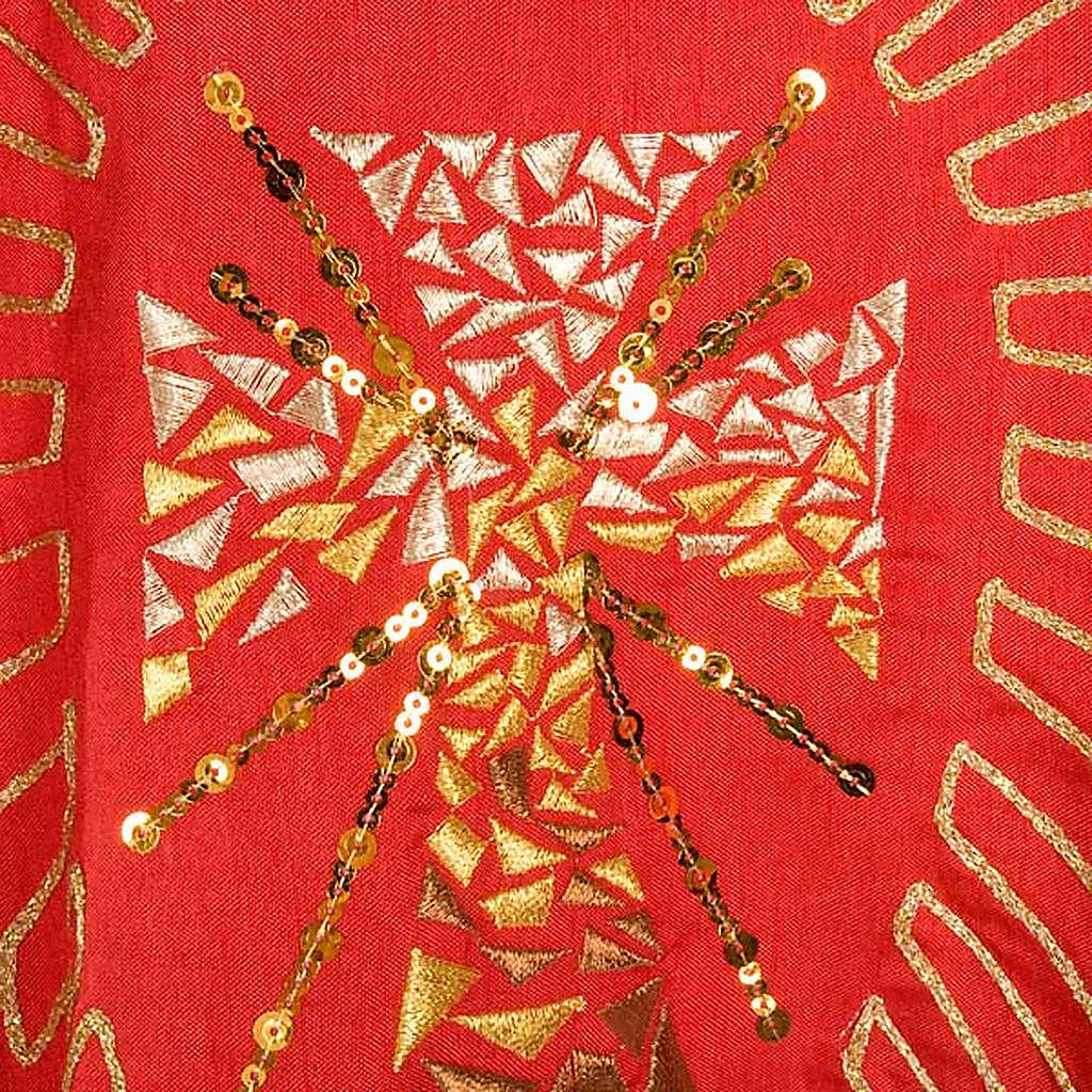 Chasuble liturgique broderie dorée croix avec rayons 4
